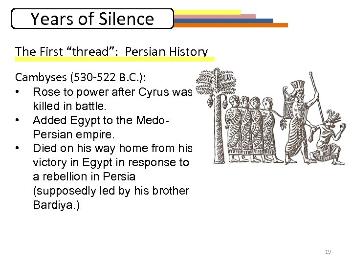 """Years of Silence The First """"thread"""": Persian History Cambyses (530 -522 B. C. ):"""