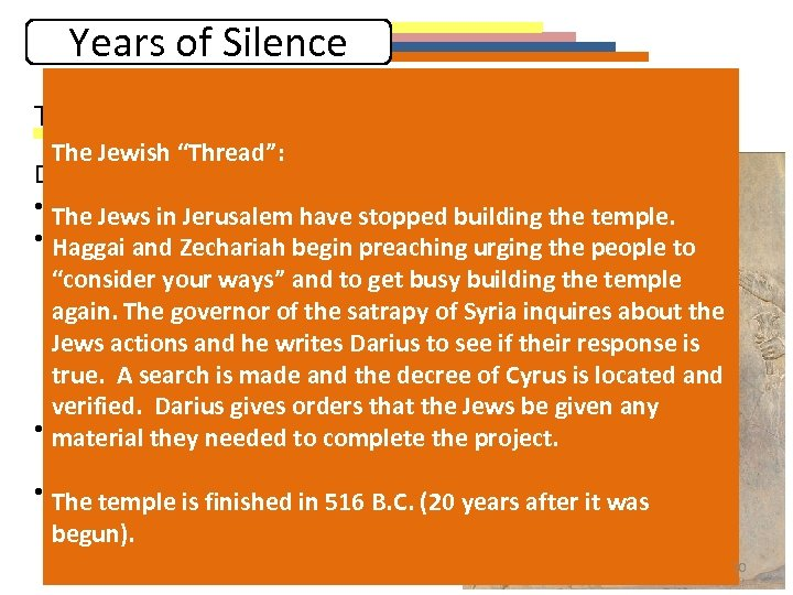"""Years of Silence The First """"thread"""": Persian History The Jewish """"Thread"""": Darius I (521"""
