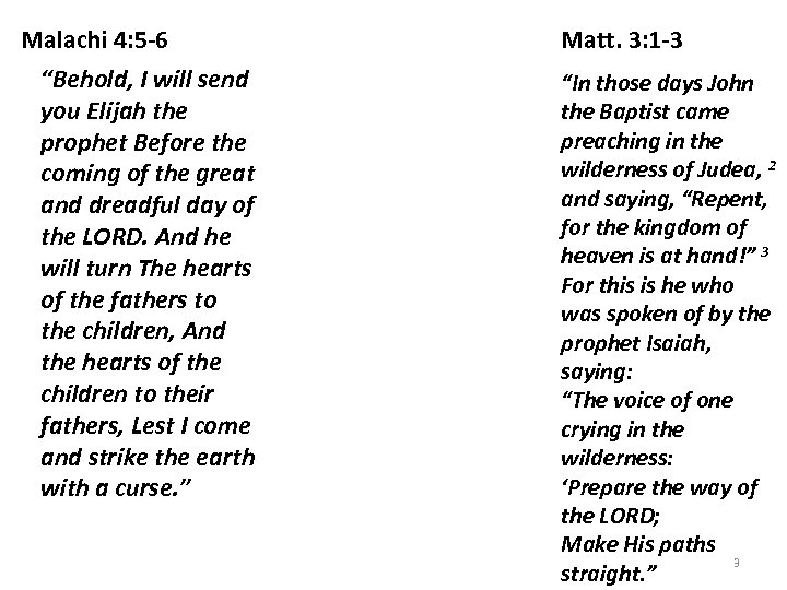 """Malachi 4: 5 -6 """"Behold, I will send you Elijah the prophet Before the"""