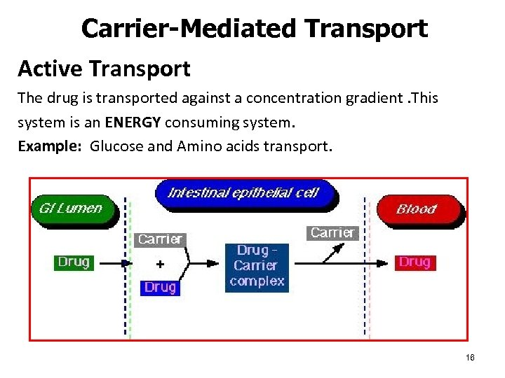 Carrier-Mediated Transport Active Transport The drug is transported against a concentration gradient. This system