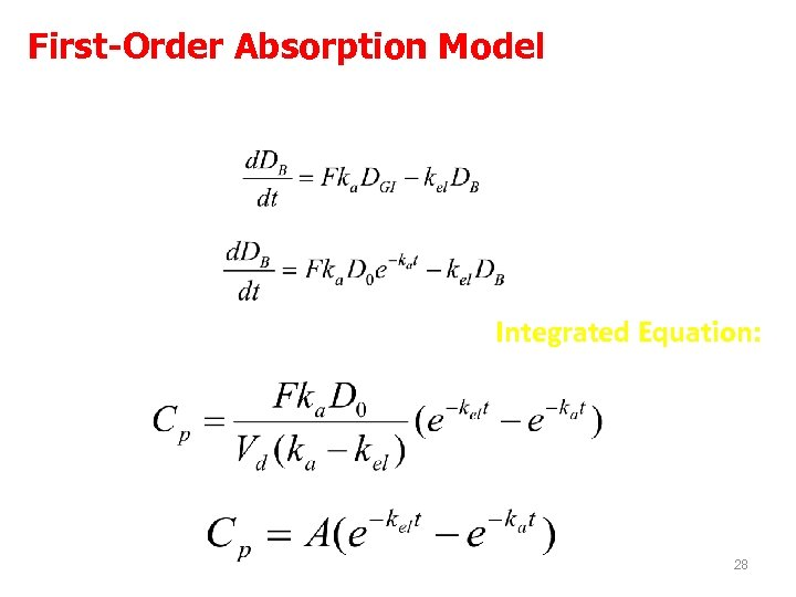 First-Order Absorption Model Rate of change = rate of input – rate of output