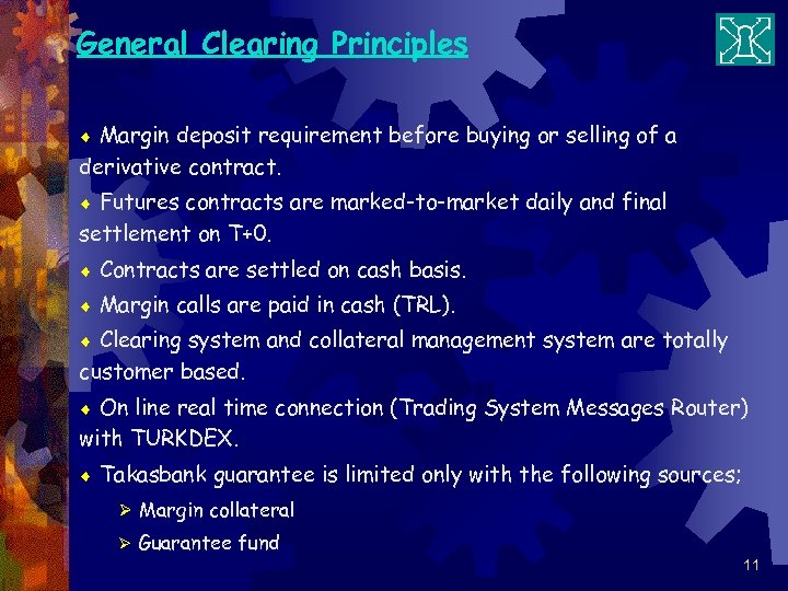 General Clearing Principles Margin deposit requirement before buying or selling of a derivative contract.