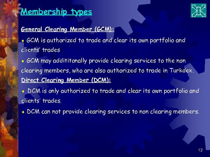 Membership types General Clearing Member (GCM): ¨ GCM is authorized to trade and clear