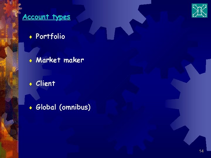 Account types ¨ Portfolio ¨ Market maker ¨ Client ¨ Global (omnibus) 14