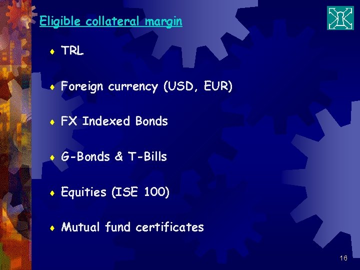 Eligible collateral margin ¨ TRL ¨ Foreign currency (USD, EUR) ¨ FX Indexed Bonds