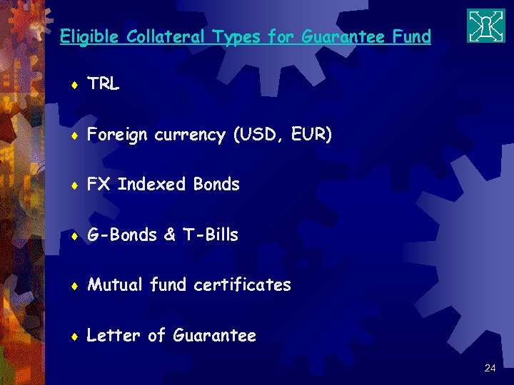 Eligible Collateral Types for Guarantee Fund ¨ TRL ¨ Foreign currency (USD, EUR) ¨