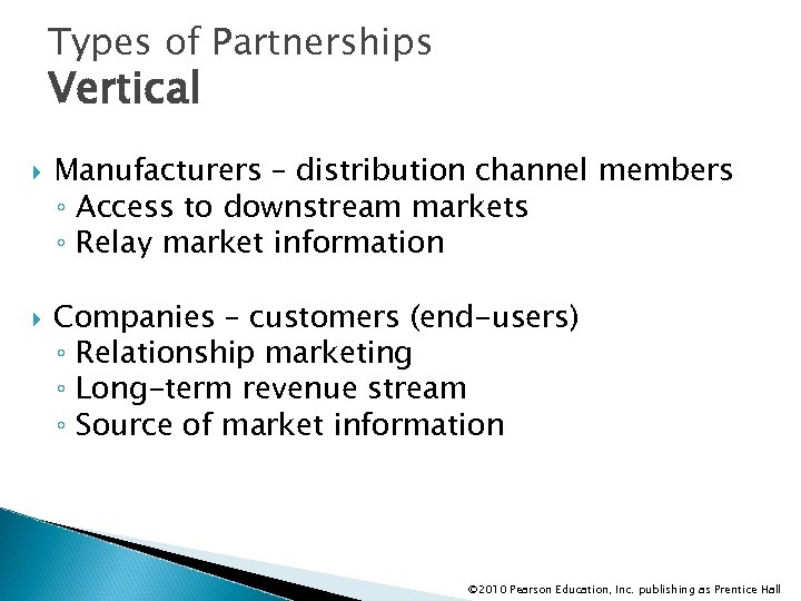 Types of Partnerships Vertical Manufacturers – distribution channel members ◦ Access to downstream markets