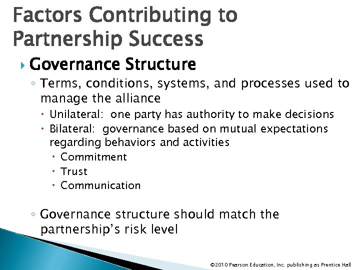 Factors Contributing to Partnership Success Governance Structure ◦ Terms, conditions, systems, and processes used