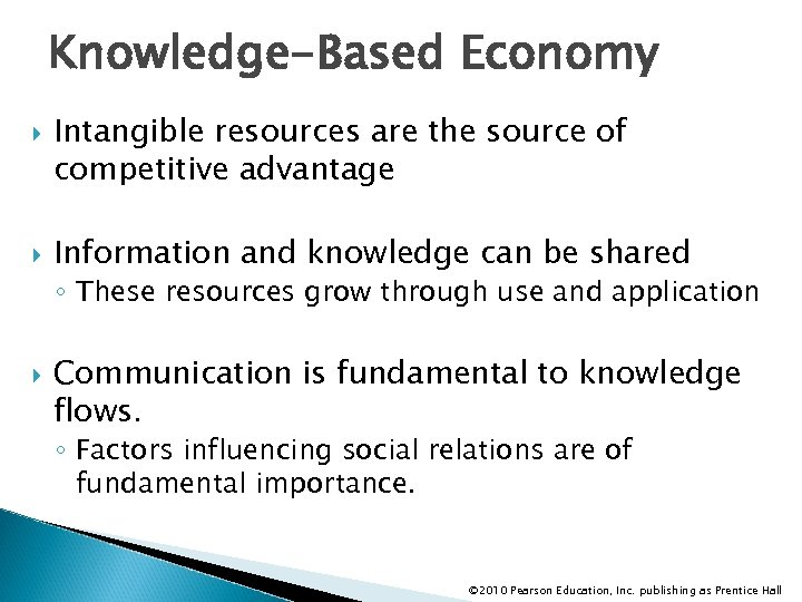 Knowledge-Based Economy Intangible resources are the source of competitive advantage Information and knowledge can