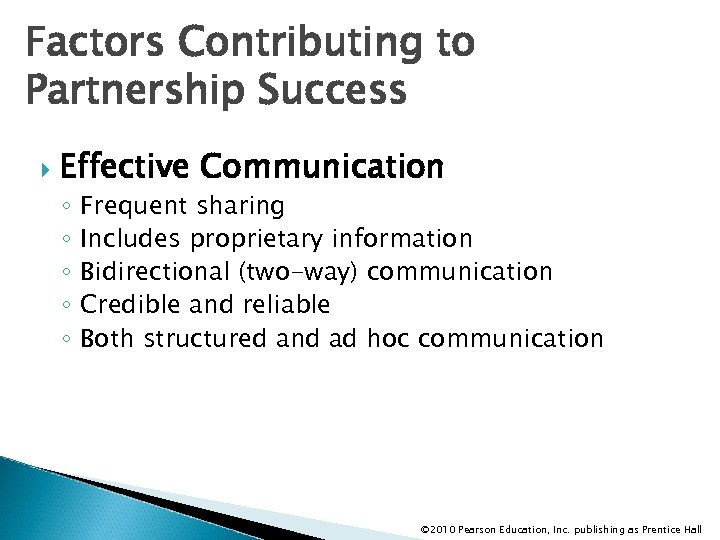 Factors Contributing to Partnership Success Effective Communication ◦ ◦ ◦ Frequent sharing Includes proprietary