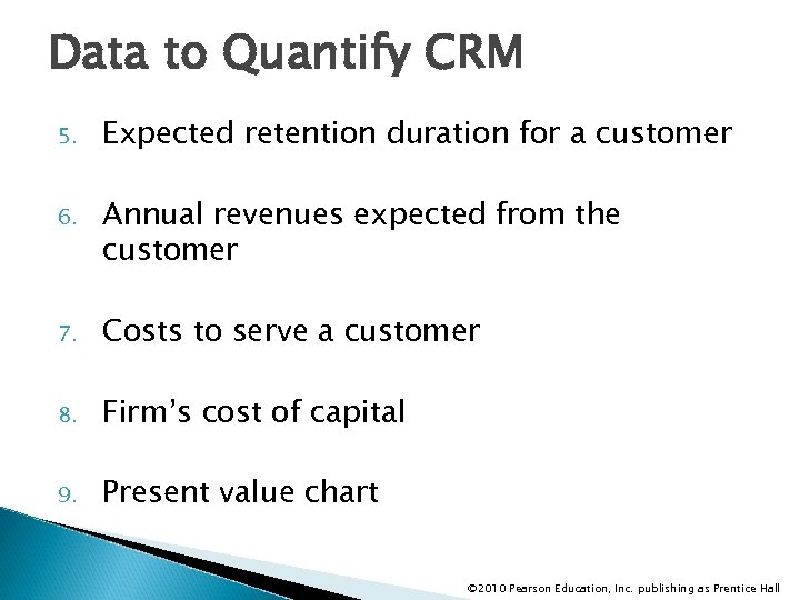Data to Quantify CRM 5. Expected retention duration for a customer 6. Annual revenues