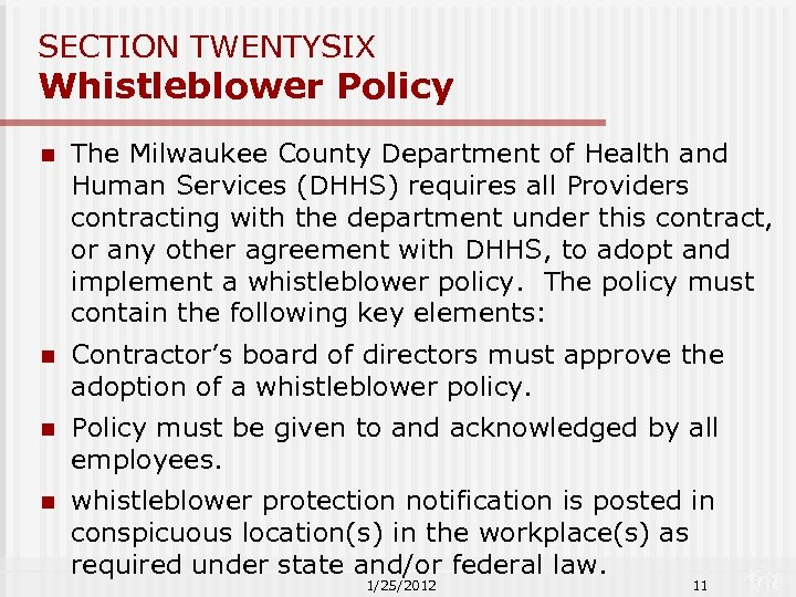 SECTION TWENTYSIX Whistleblower Policy n The Milwaukee County Department of Health and Human Services