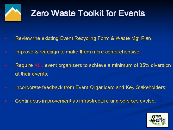 Zero Waste Toolkit for Events § Review the existing Event Recycling Form & Waste
