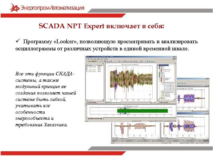 SCADA NPT Expert включает в себя: ü Программу «Looker» , позволяющую просматривать и анализировать
