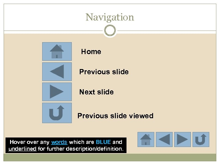 Navigation Home Previous slide Next slide Previous slide viewed Hover any words which are