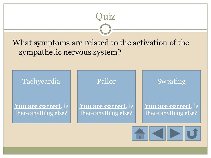 Quiz What symptoms are related to the activation of the sympathetic nervous system? Tachycardia