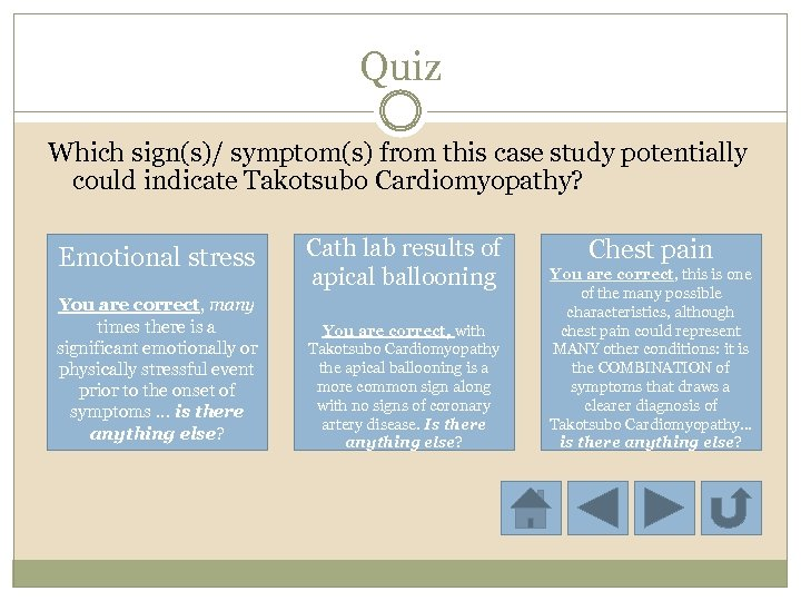 Quiz Which sign(s)/ symptom(s) from this case study potentially could indicate Takotsubo Cardiomyopathy? Emotional