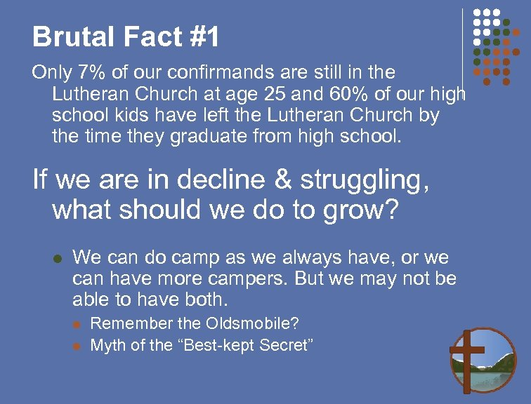 Brutal Fact #1 Only 7% of our confirmands are still in the Lutheran Church