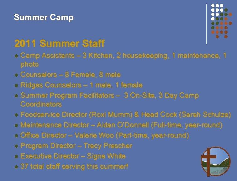 Summer Camp 2011 Summer Staff Camp Assistants – 3 Kitchen, 2 housekeeping, 1 maintenance,