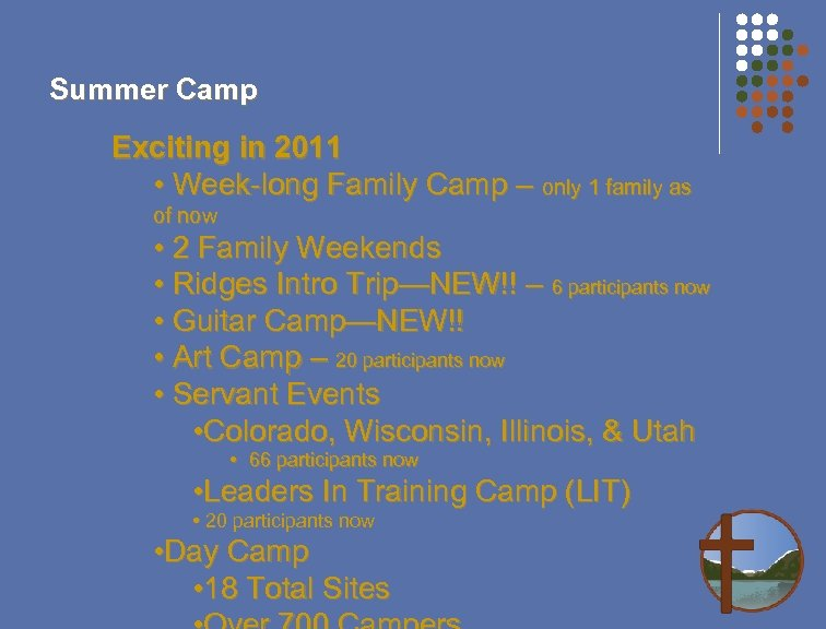 Summer Camp Exciting in 2011 • Week-long Family Camp – only 1 family as