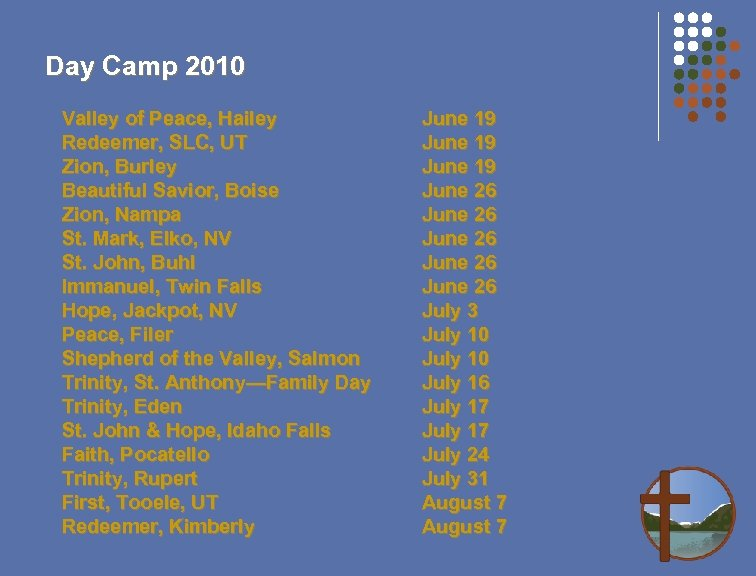 Day Camp 2010 Valley of Peace, Hailey Redeemer, SLC, UT Zion, Burley Beautiful Savior,