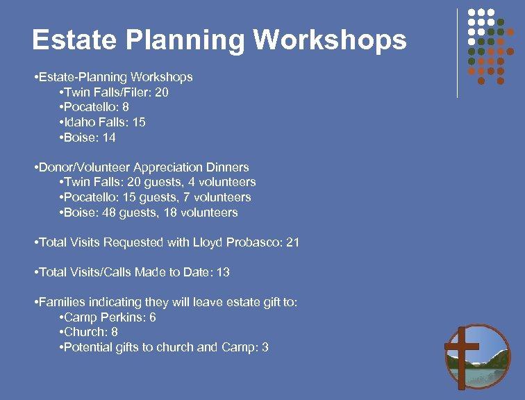Estate Planning Workshops • Estate-Planning Workshops • Twin Falls/Filer: 20 • Pocatello: 8 •