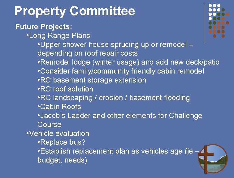 Property Committee Future Projects: • Long Range Plans • Upper shower house sprucing up