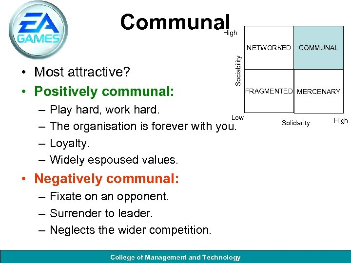 Communal High • Most attractive? • Positively communal: – – COMMUNAL Sociability NETWORKED Play