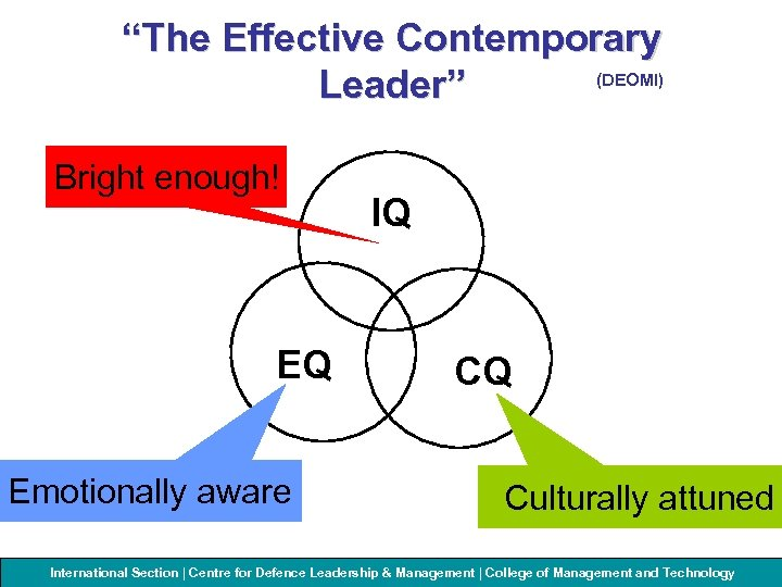 """The Effective Contemporary (DEOMI) Leader"" Bright enough! EQ Emotionally aware IQ CQ Culturally attuned"