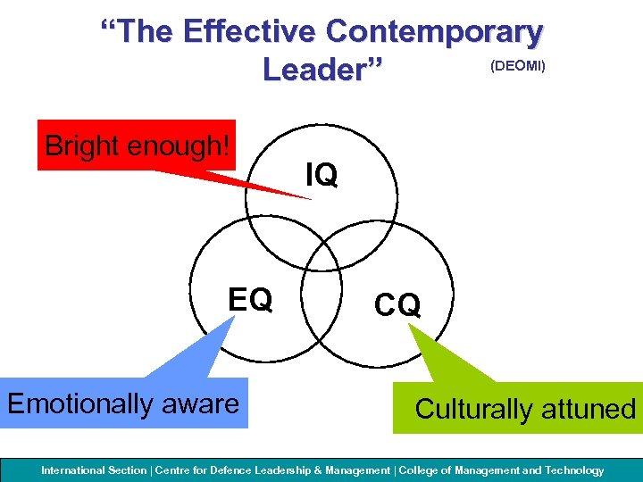 """The Effective Contemporary (DEOMI) Leader"" Bright enough! EQ Emotionally aware IQ CQ Culturally attuned"