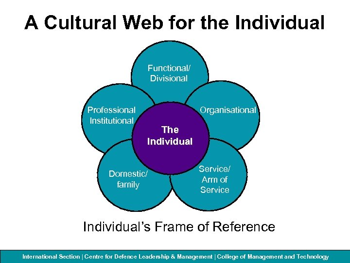 A Cultural Web for the Individual Functional/ Divisional Professional Institutional Organisational The Individual Domestic/