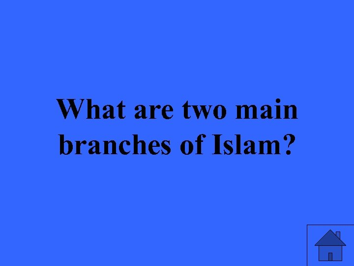 What are two main branches of Islam?