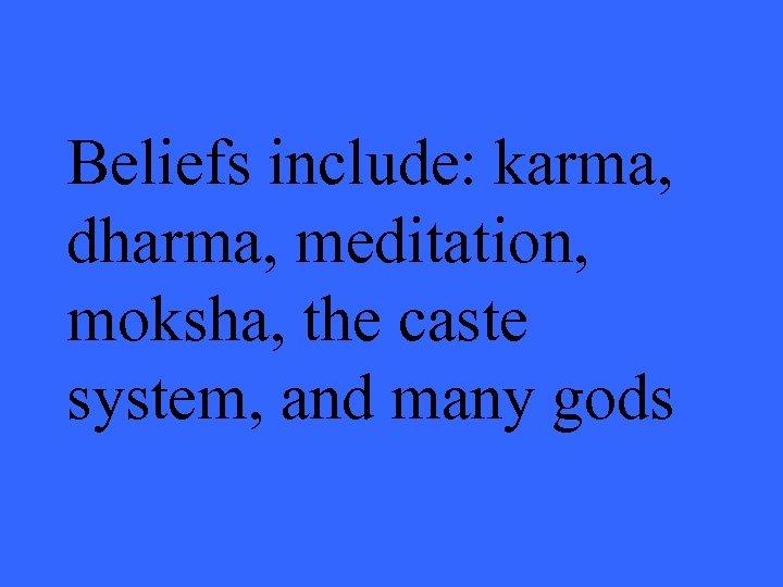 Beliefs include: karma, dharma, meditation, moksha, the caste system, and many gods