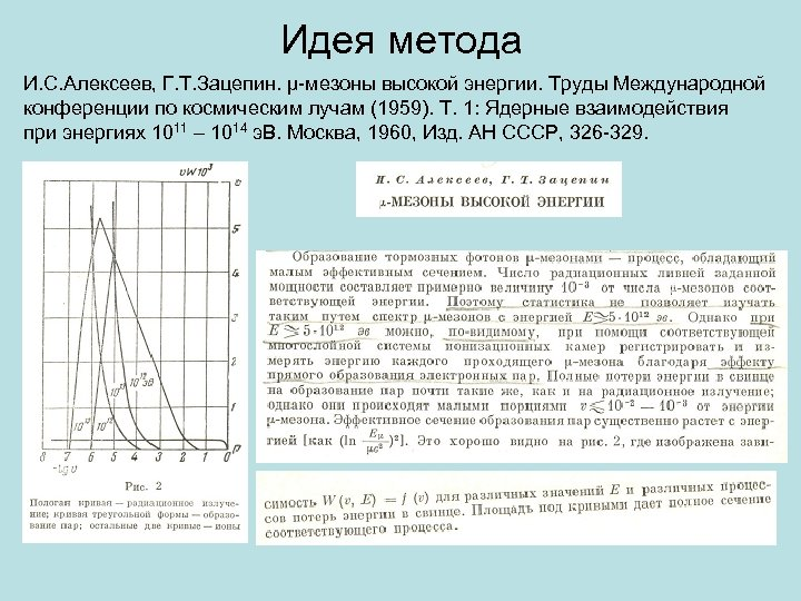 Идея метода И. С. Алексеев, Г. Т. Зацепин. μ-мезоны высокой энергии. Труды Международной конференции