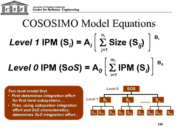 USC C S E University of Southern California Center for Software Engineering COSOSIMO Model