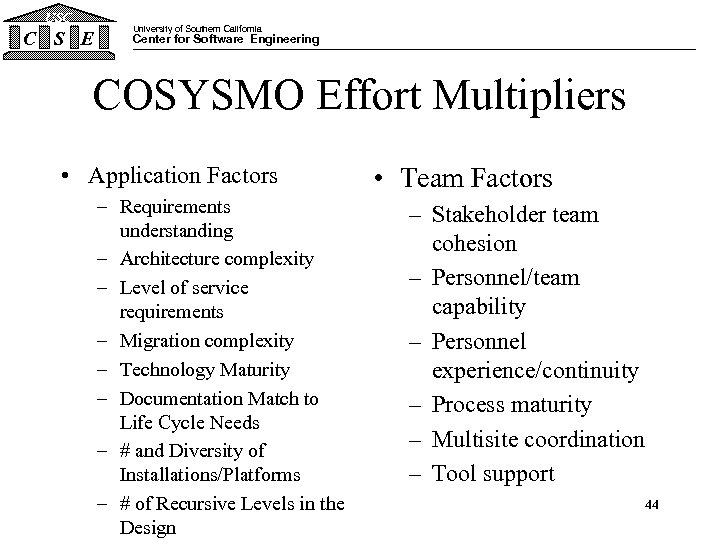 USC C S E University of Southern California Center for Software Engineering COSYSMO Effort