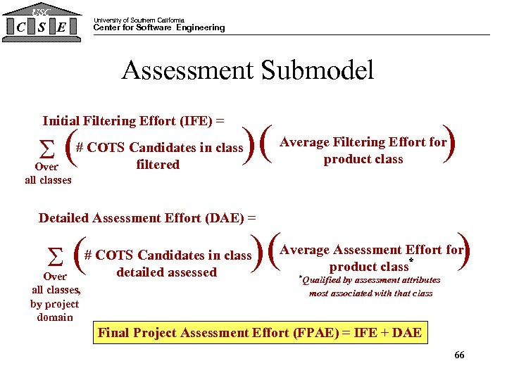 USC University of Southern California C S E Center for Software Engineering Assessment Submodel