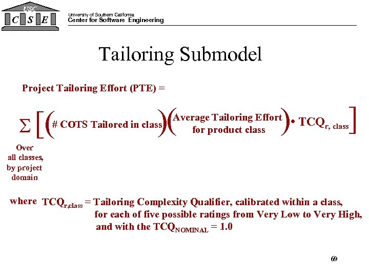 USC C S E University of Southern California Center for Software Engineering Tailoring Submodel