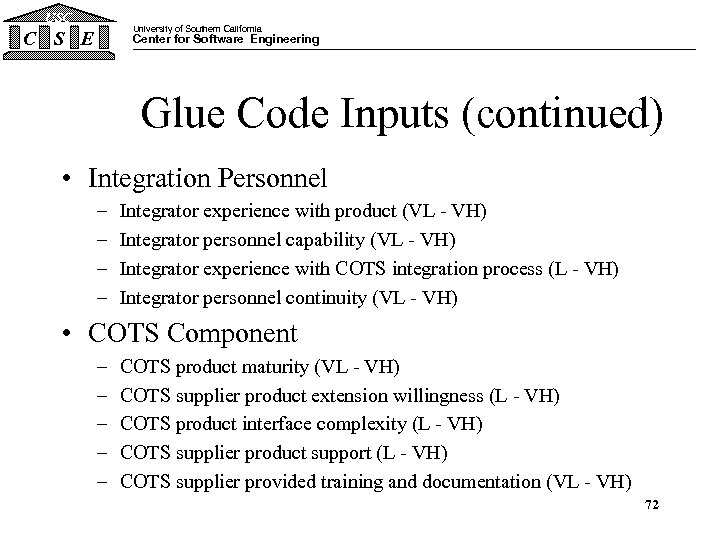USC University of Southern California C S E Center for Software Engineering Glue Code