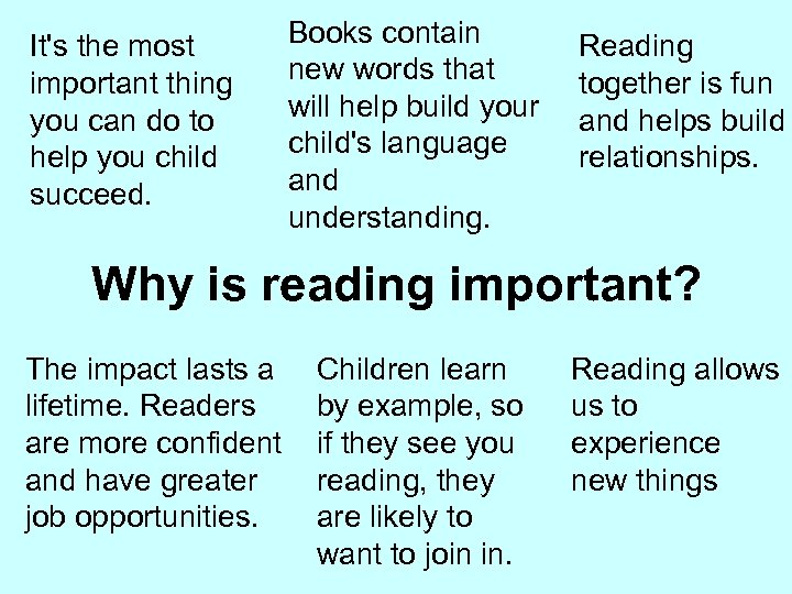 It's the most important thing you can do to help you child succeed. Books