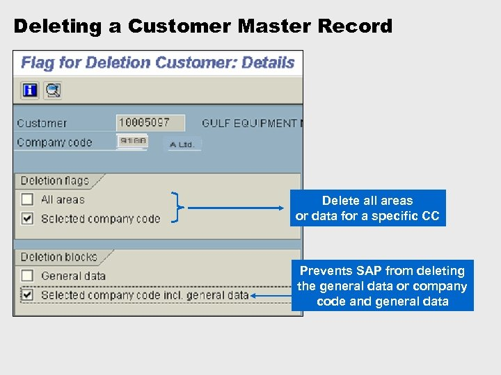 Deleting a Customer Master Record Delete all areas or data for a specific CC