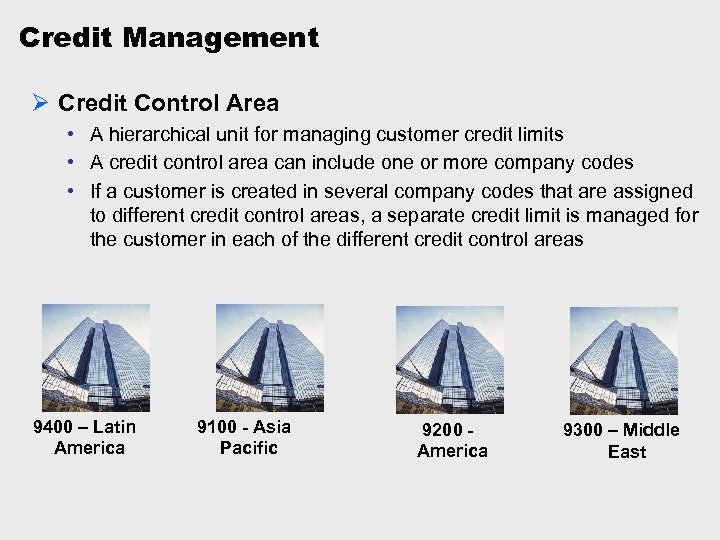 Credit Management Ø Credit Control Area • A hierarchical unit for managing customer credit
