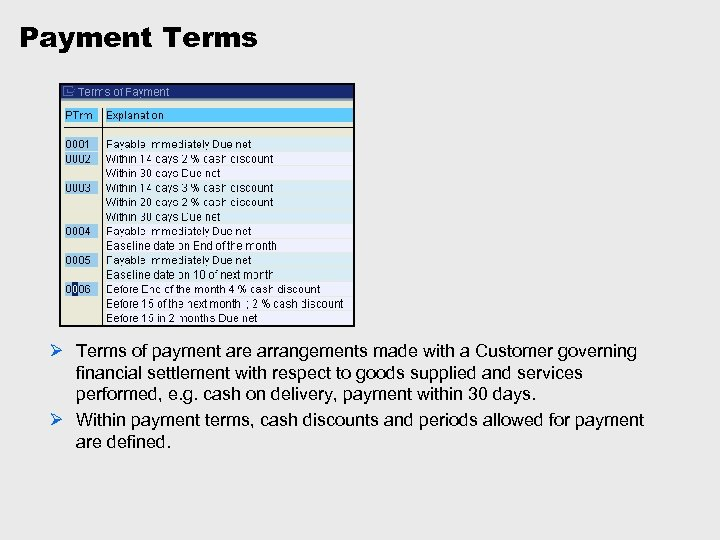 Payment Terms Ø Terms of payment are arrangements made with a Customer governing financial