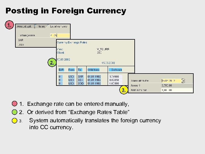Posting in Foreign Currency 1. 2. 3. 1. Exchange rate can be entered manually,