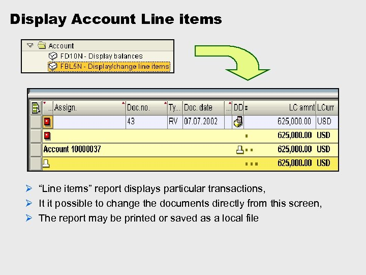 """Display Account Line items Ø """"Line items"""" report displays particular transactions, Ø It it"""