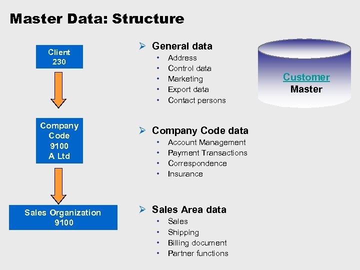 Master Data: Structure Client 230 Company Code 9100 A Ltd Sales Organization 9100 Ø