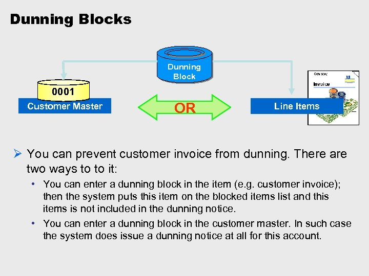 Dunning Blocks Dunning Block 0001 Customer Master OR Line Items Ø You can prevent