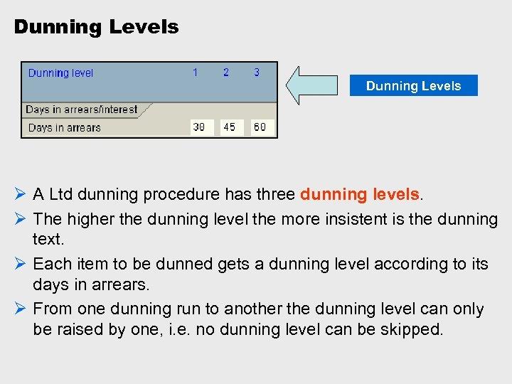 Dunning Levels Ø A Ltd dunning procedure has three dunning levels. Ø The higher