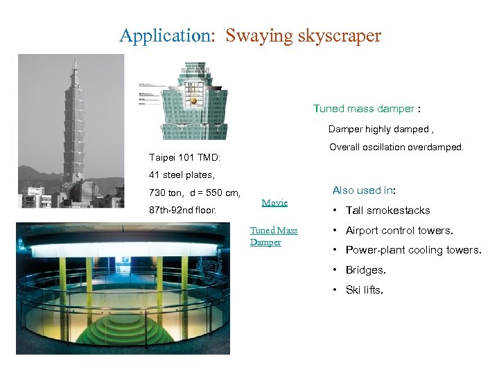 Application: Swaying skyscraper Tuned mass damper : Damper highly damped , Overall oscillation overdamped.