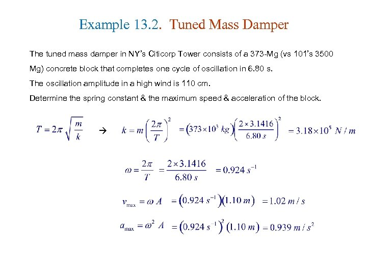 Example 13. 2. Tuned Mass Damper The tuned mass damper in NY's Citicorp Tower